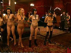 Hot Girls Forced to Do a Lesbian Orgy In BDSM Vid