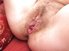 Busty Blonde With A Hairy Pussy Gets A Creampie From An Interracial Threesome