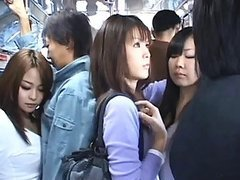 Japanese AV Model gives a handjob to a horny guy in a public bus
