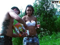 Teen Brunette Is Ready To Have Hardcore Sex After Getting Drunk In A Picnic