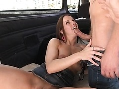 Busty Brunette Sucks Cock in a Van for a Reality Porn Video