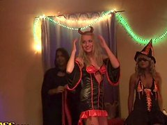 Halloween Party Orgy With Horny Drunk Girls