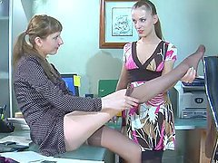 Hot Office Scene With The Lesbian Babes Rosa And MadeleineB