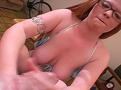 Naughty Blonde Gets Cum on Her Glasses