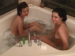 Little Lesbian Action With Rita And Her Friend In A Bathtub