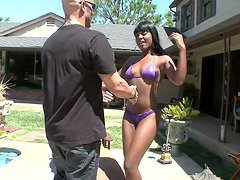 Hardcore Interracial Scene By The Pool With An Ebony Babe