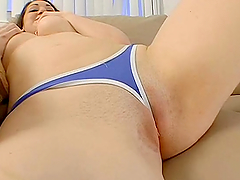Disappearing Panties in a Brunette's Pussy