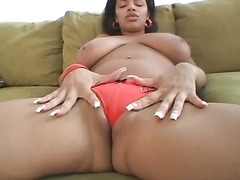 Big Boobed Brown Girl Masturbates and Sucks a Big White Cock