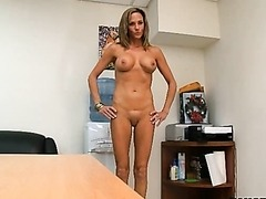 Busty Blonde MILF Gets Naked and Masturbates in the Office