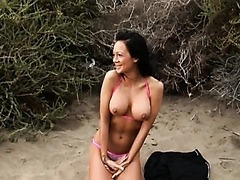 Sexy Italian Babe Sucks and Fucks a Cock Outdoors
