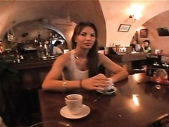 Sexy Brunette MILF Flashes her Big Round Jugs in a Pub