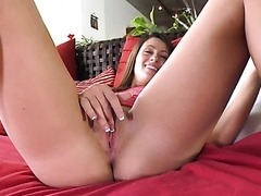 Gorgeous Teen Eating a Fat Rod