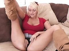 Horny Blonde MILF Masturbates For Her Son's Friend