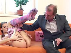 Old Timer Stretches Out Irina's Tight Pink Pussy