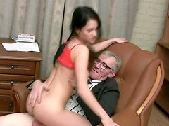 Karina Has Her Pretty Face Covered By Hot Cum After Riding An Old Guys Cock