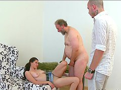 Simona fucked by two guys, including old freak