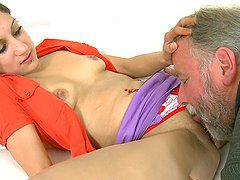 Hot Brunette Fucks an Older Guy