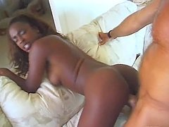 Spectacular Ebony Babe Gets All Her Holes Fucked by a White Cock