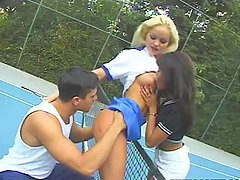 Hacan Serbes fucks Leanni Lei and Silvia Saint on the tennis court
