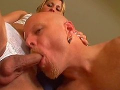 Transsexual Blonde Babe Blows a Dick in a Wild POV Video