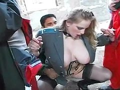 Big Tit Slut Is Assfucked By Studs