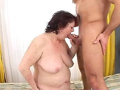 Helen the curly granny fucks a guy like wild animal