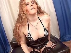 Curly chick toys her pussy and gets fucked hard