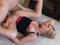 Slutty mature blonde gets fucked hard on the floor