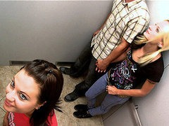 Lucky Guy Gets Trapped in Elevator With Two Hot Babes