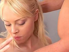 Blonde Chick With Pink Pussy Swallows Cum.