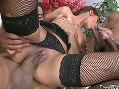 Angel Rivas sucks a dick while getting double penetrated
