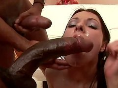 Roxy the pretty White girl get gangbaged by Black guys