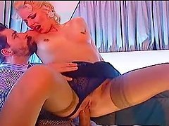 Monika Ticha the horny blonde slut gets fucked on the sofa