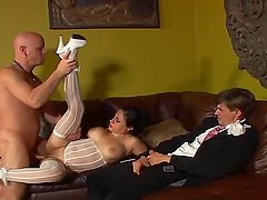 Horny brunette girl in wedding dress gets threesomed