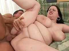 Carolin the slutty fat brunette gets fucked and jizzed on