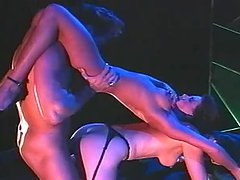Gorgeous brunette girl gets threesomed in the club