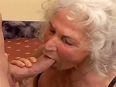 Nasty granny Marinoka rides a cock and gets her hairy pussy filled with cum