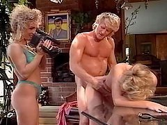 Jenna Wells and her GF share Randy West's cock and eat each other's pussies