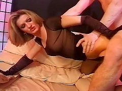 Pamela Bocchi plays with a dildo and then takes a real cock in her snatch