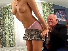 Desirable blond babe gets down on a huge old cock
