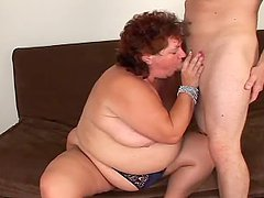Fat MILF take big dick in her hot pussy and then gets jizzed on
