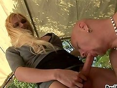 Horny blond transsexual babe Jesse Flores bangs him hard