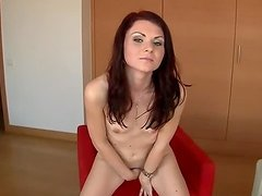 Tyna the sexy brunette fingers and toys her hot pussy
