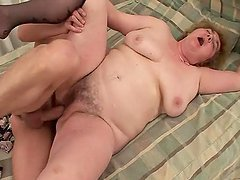 Chubby Old Grandma Gets Her Pussy Rammed By a Young Stud