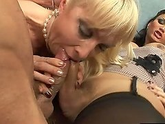 Blonde She Male Fucks With Two Guys in a Threesome