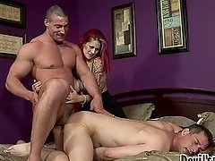 Crazy Redhead Babe Fucks Two Bi Guys in a Crazy Threesome