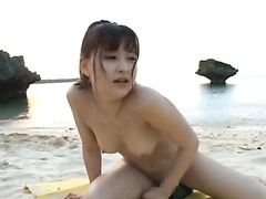 Horny Yukiko Suo Crams a Vegetable Up her Hairy Pussy Outdoors