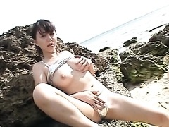Extremely Horny Ai Takeuchi Finger Fucks her Hairy Pussy Outdoors