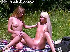 Two nasty girls make lesbian love instead of having picnic